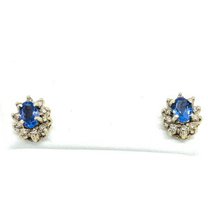 10k White Solid Gold Genuine Natural Tanzanite & Diamond Cluster Post Earrings