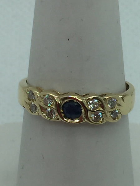 14k Solid Gold Genuine Sapphire & Cubic Zirconia Ring