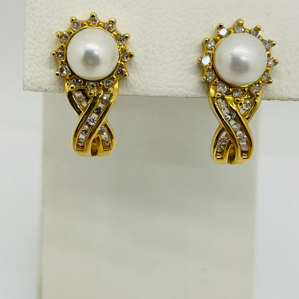 Vintage 14K Yellow Gold Cultured Pearl With Diamond Earrings