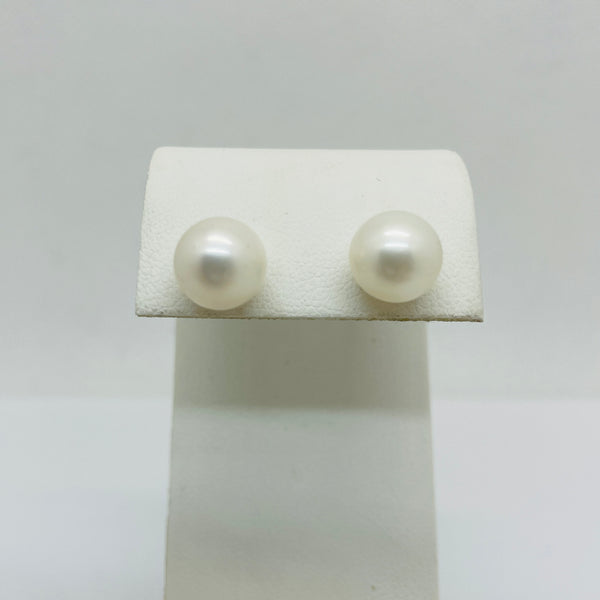 14Kt Yellow Gold Cultured Pearl Post Earrings, 10mm