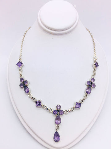 Solid Sterling Silver Y Necklace with Amethyst Stones