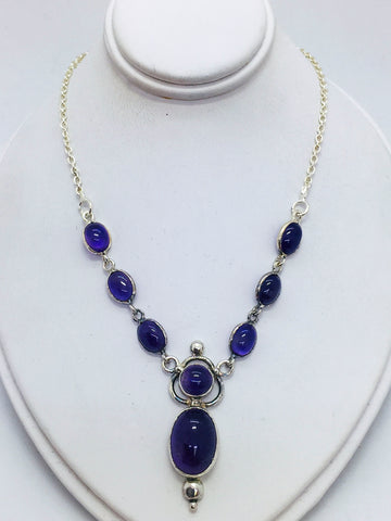 Sterling Silver Y Necklace with Cabochon Cut Amethyst Stones