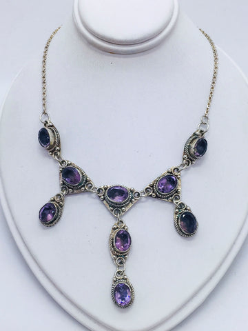 Solid Sterling Silver Necklace with Amethyst Stones