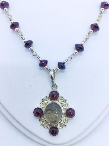 Sterling Silver Sajen Garnets and Moonstone Necklace