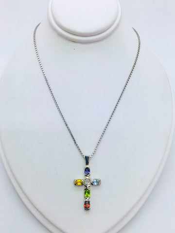 Sterling Silver Chain & Cross with Multiple Gemstones