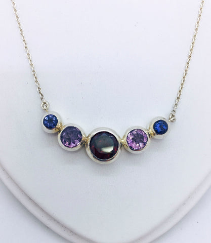 Solid Sterling Silver Necklace with Multiple Gemstones