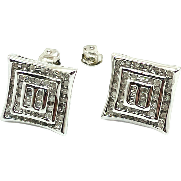 10k Solid Real White Gold .52 Carat Diamond Pave Earrings