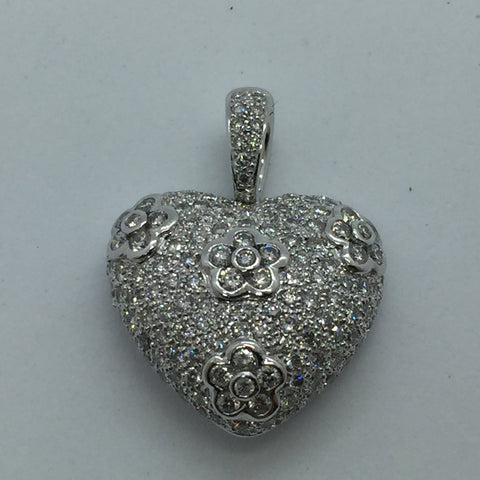 14K Solid White Gold Diamond Puffed Pave Heart Pendant