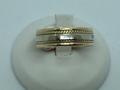 14K Solid Two Tone Gold Wedding Band Ring