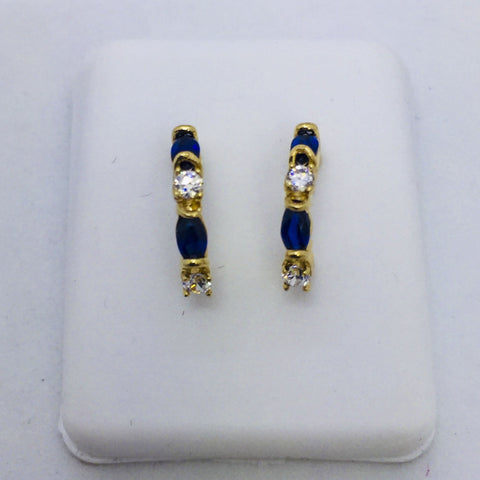 14K Solid Gold Genuine Sapphire & Diamond Post Earrings