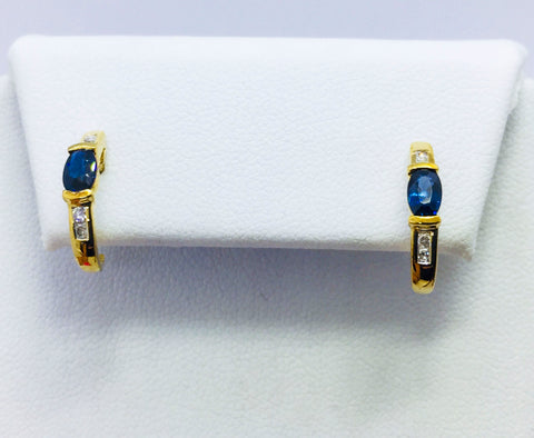 14K Solid Yellow Gold Genuine Sapphire & Diamond Post Earrings