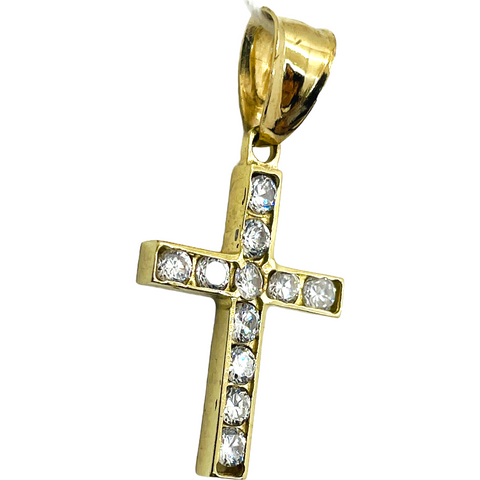 10K Solid Yellow Gold Cross Cubic Zirconia CZ Stone Pendant