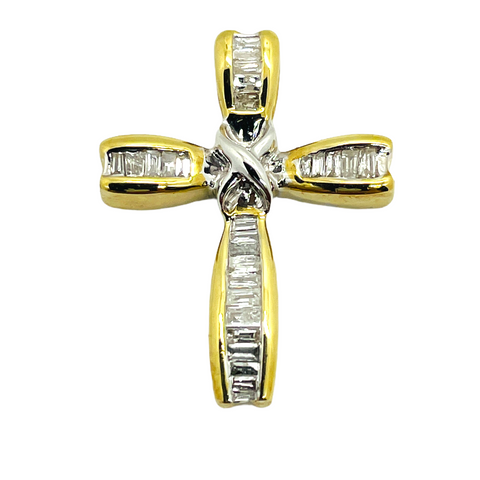 10K Two-Tone Gold Diamond .23 Total Carats Cross Slide Pendant