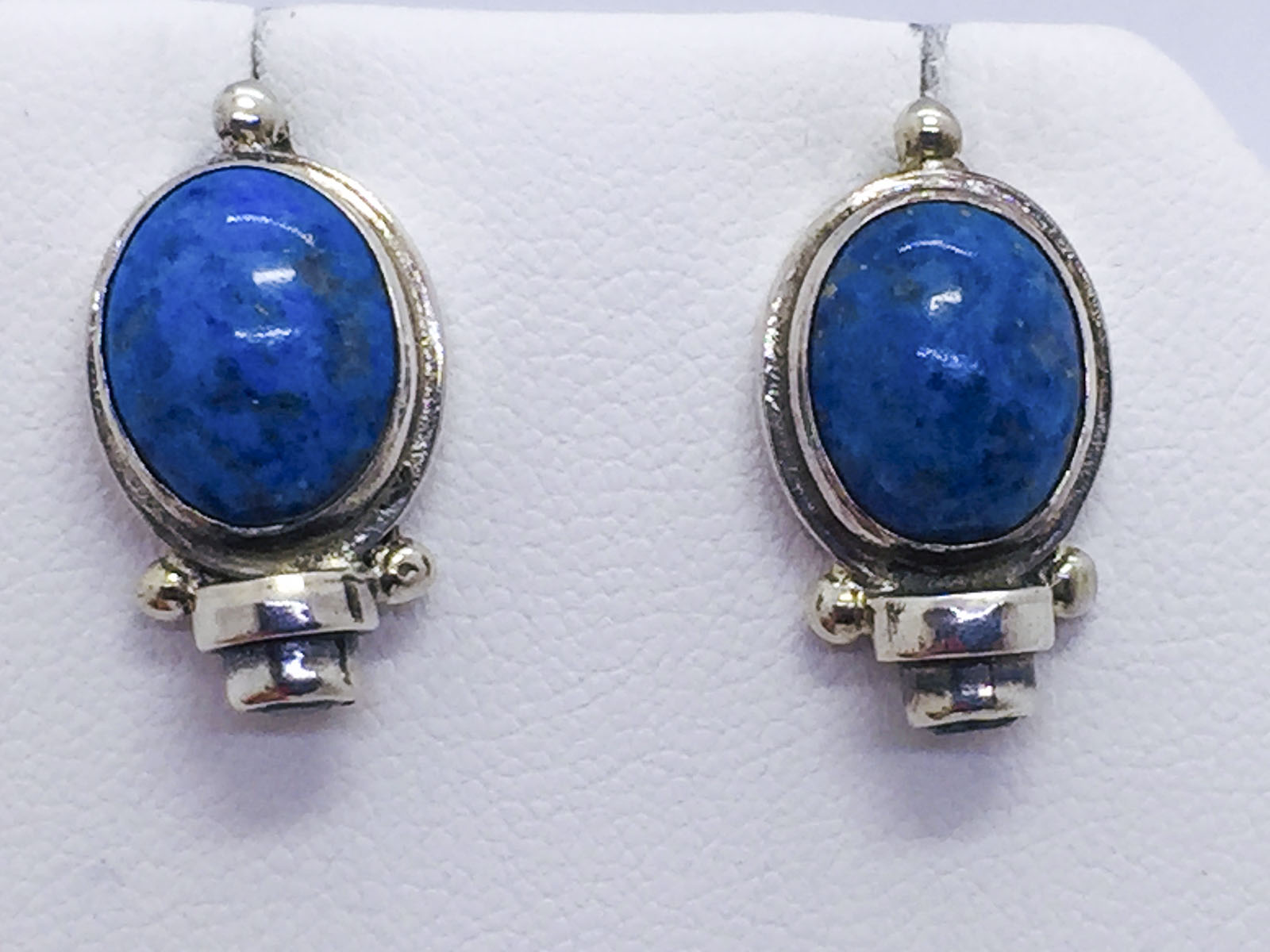 Solid Sterling Silver Lapis & Blue Topaz Post Earrings, SARDA