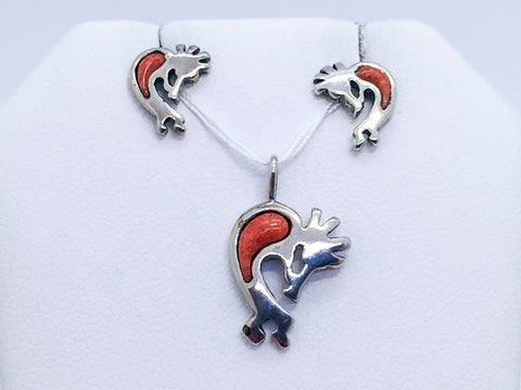 Sterling Silver Genuine Coral Kokopelli Earrings/Pendant Set