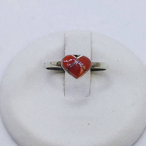 Solid Sterling Silver and Coral Heart-Shaped Baby Ring