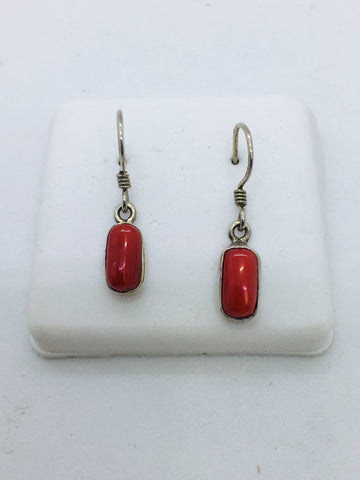 Solid Sterling Silver and Natural Coral Drop Earrings