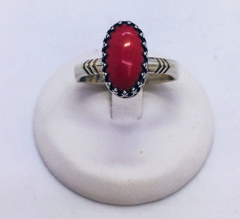 Solid Sterling Silver and Coral Handmade Ring