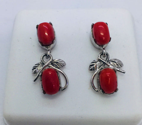 Solid Sterling Silver and Natural Coral Post Earrings