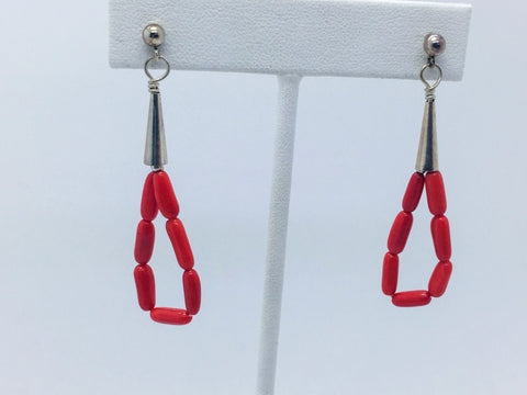 Solid Sterling Silver Natural Coral Post Drop Earrings