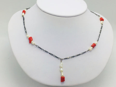 Solid Sterling Silver Necklace w/Coral & Freshwater Pearls