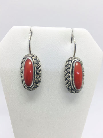 Solid Sterling Silver Natural Italian Coral Handmade Drop Earrings