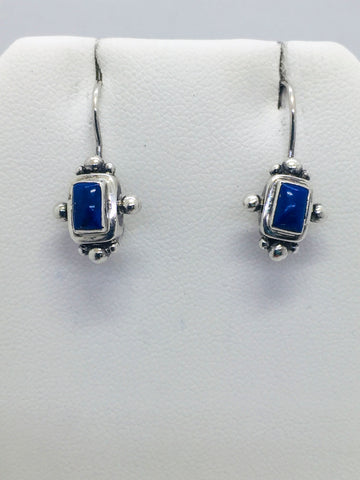 Solid Sterling Silver and Genuine Lapis Drop Earrings, SARDA