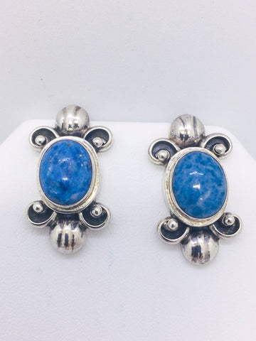 Solid Sterling Silver and Large Lapis Post Earrings, SARDA
