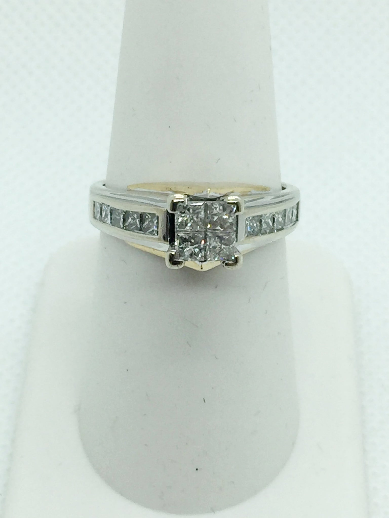 14k Solid Gold Princess Cut Diamond Engagement Ring