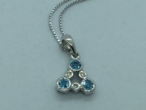 14k Solid White Gold Genuine Blue Topaz & Diamond Pendant & Chain