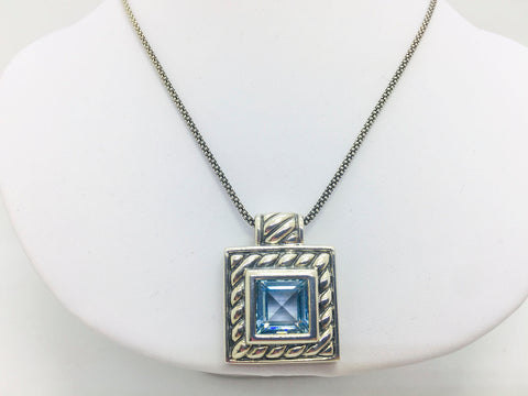 "Solid Sterling Silver Blue Topaz Pendant w/18"" Chain"