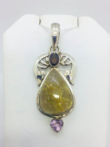 Sterling Silver Rutilated Quartz/Garnet/Amethyst Pendant