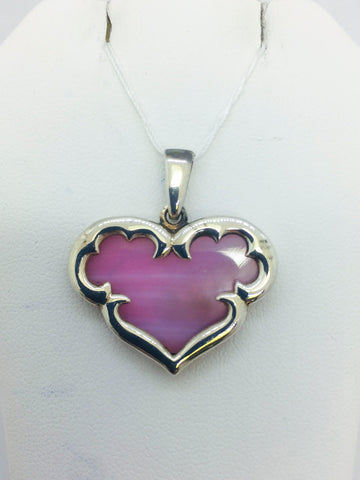 Solid Sterling Silver Pink Mother of Pearl Heart Pendant