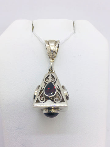 Solid Sterling Silver Handmade Pendant with Garnet Stone