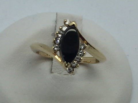10k Yellow Solid Gold Black Onyx & Cubic Zirconia Ring, Size 6