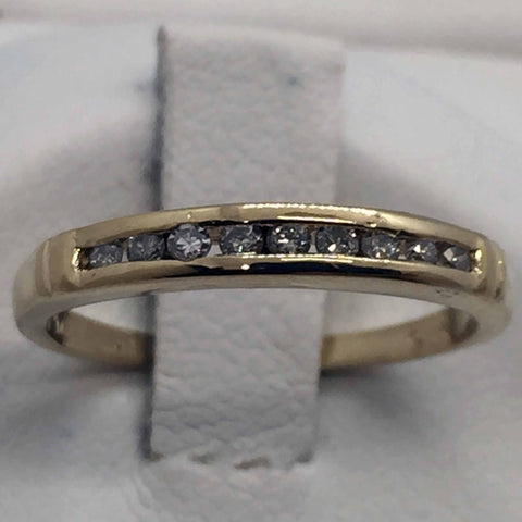 14k Yellow Solid Gold Diamond Band Ring, Size 4.5