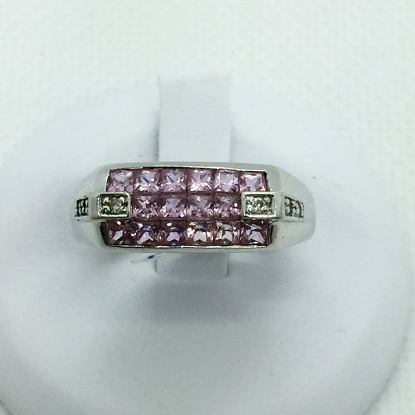14k Solid White Gold Pink Sapphire & Diamond Ring