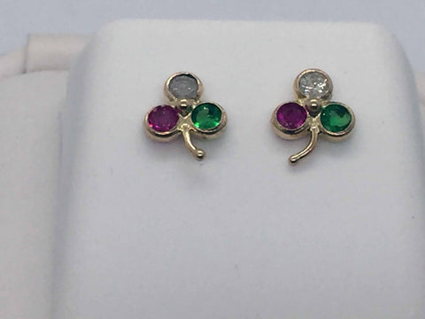 14k Solid Gold Genuine Emerald, Ruby & Diamond Post Earrings