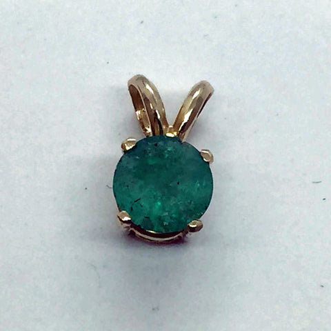 14k Yellow Solid Gold Genuine Emerald Pendant