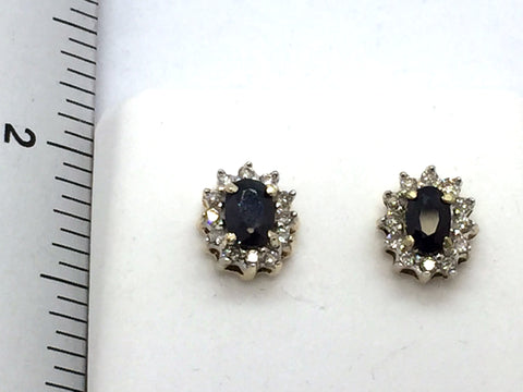 10k Solid Gold Sapphire & Diamond Post Earrings