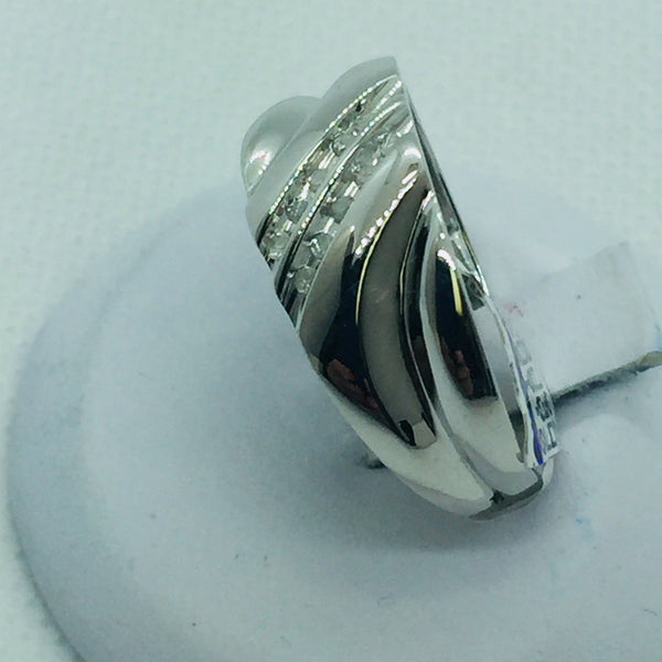 10K Solid White Gold Diamond Mens Band Ring, Size 10.5