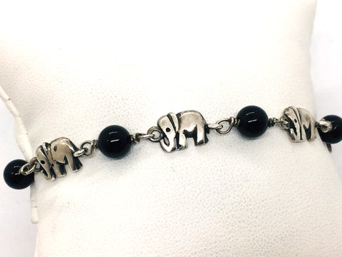 Solid Sterling Silver Genuine Black Onyx Bead Bracelet With Elephants