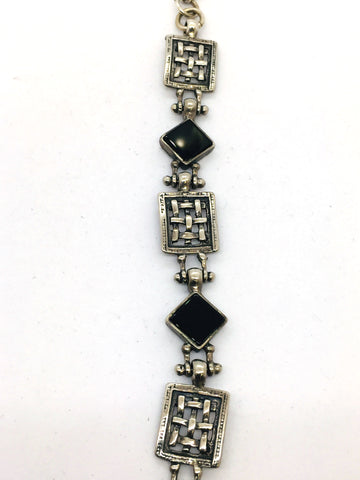 Solid Sterling Silver Genuine Black Onyx Bracelet With Toggle Clasp