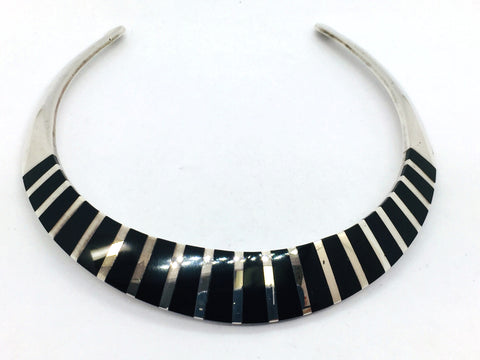 Solid Sterling Silver Genuine Black Onyx Choker Necklace