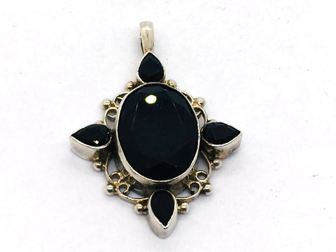 Solid Sterling Silver Genuine Black Onyx Faceted Pendant