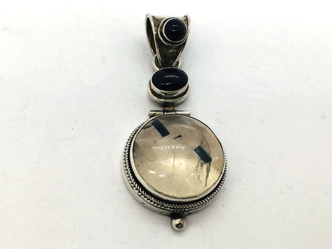 Solid Sterling Silver Genuine Quartz & Black Onyx Pendant