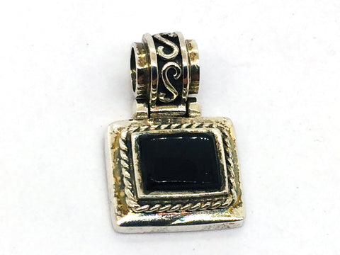 Solid Sterling Silver Genuine Black Onyx Pendant