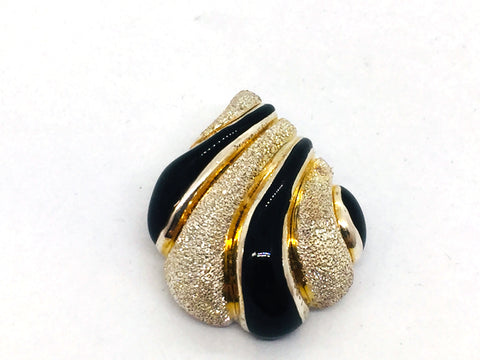 Solid Sterling Silver Genuine Black Onyx Two-Tone Brushed Texture Fancy Slide / Pendant