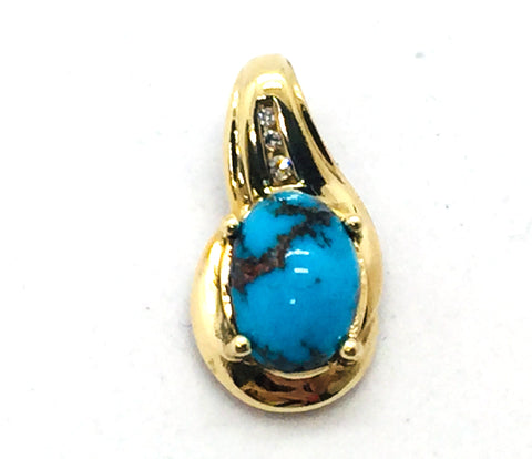 10k. Solid Gold Genuine Persian Turquoise & Diamond Slide Pendant