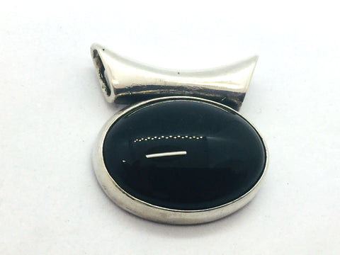 Solid Sterling Silver Genuine Black Onyx Slide Pendant